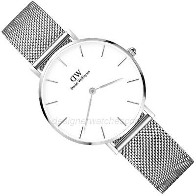 New Daniel Wellington Dw00100164 Petite Stainless Silver White Dial Ladies Watch