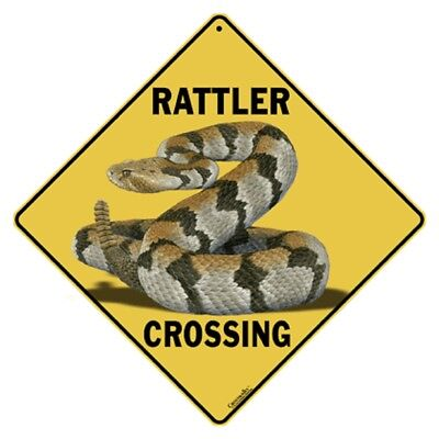 Rattler Crossing Sign NEW 12X12 Metal Reptile Rattlesnake