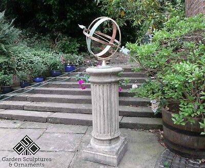 Large Armillary Sundial On Round Classic Column Free Uk Mainland Delivery