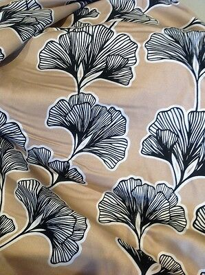 Retro  Cotton Fabric Black Leaf On Taupe 135 Cm X 300 Cm