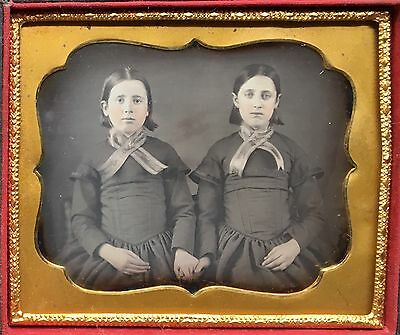 Beautiful Young Sisters Matching Dress + Ribbons Freckles 1/6 Daguerreotype D406