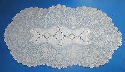 Vintage Table Runner Figural Lace Cherubs Urns White on White Embroidery Antique