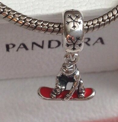 Pandora Snowboarder Silver Dangle With Red Enamel # 791366EN09