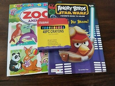 Angry Birds Star Wars & Zoo Animals With 48PC Crayon Coloring Bundle