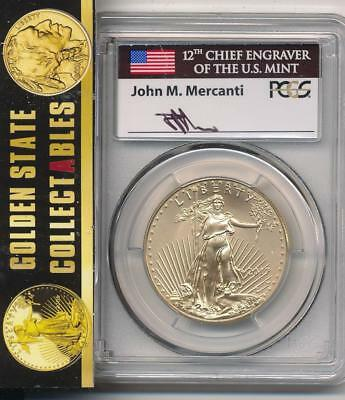 2017 W $50 Burnished Gold Eagle Pcgs Sp70 First Day Mercanti Signed Pop 10! Wow!