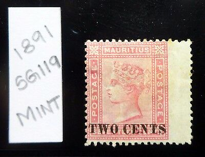 "Mauritius 1891 SG119, 2c on 17c Rose, ""Flopped T"" Surcharge(Unlisted), Mint!!"