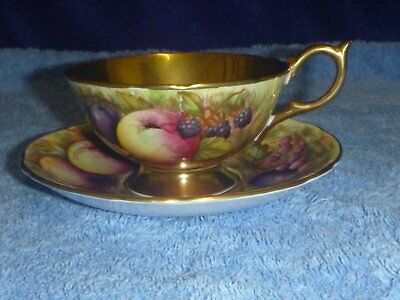 Vintage Aynsley Orchard Gold Fruit Tea Cup and Saucer