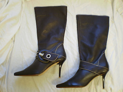 Womens LOGO 69 Brown Leather winter Pull On Mid Calf Ankle Boots New Sz 5 UK5 38