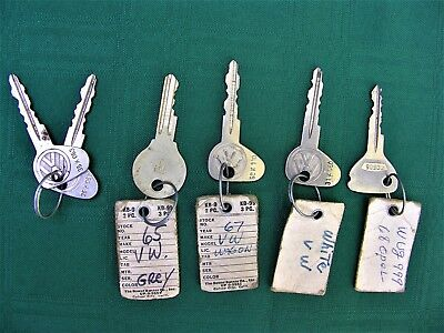 Lot Of 5 Volkswagen 1960's Ignition Keys Vintage.