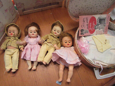 "VINTAGE -8""-BABY GINGER DOLLS LOT-  CLOTHES ACCESORIES-case-4 dolls"