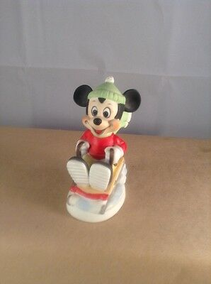 "Walt Disney Productions ""Mickey Mouse"" Sledding Figurine Bisque Porcelain"