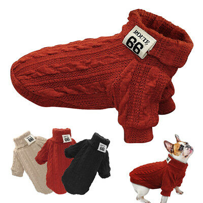 Small Dog Knitted Sweater Chihuahua Clothes Neck Soft Warm Jumper Knitwear
