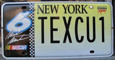 New York NASCAR Mark Martin license plate