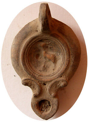 PCW-AN297-ROMAN EMPIRE. Ca. 1st-2nd Century AD. Terracotta Oil Lamp. Stag.