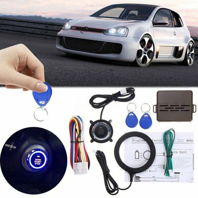 NEW Universal 12V Car Vehicle Alarm System Press Engine Start Stop Button+