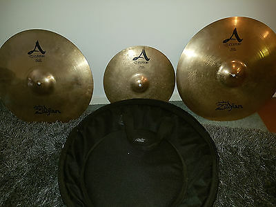 3 x Zildjian Custom A Cymbals plus case