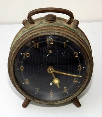 Antique Old Kienzle Table Clock With Alarm Germany Mechanical Running Condition