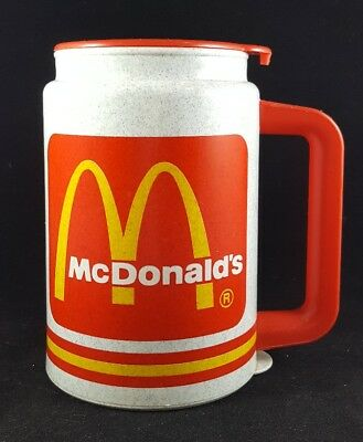 Vintage McDonald's Plastic Travel Coffee Mug Cup w/ Lid & Base Whirley Warren PA
