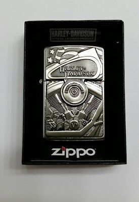 "New Zippo lighter ""Harley Davidson"" Motor Flag Emblem Street Chrome Retail $62"