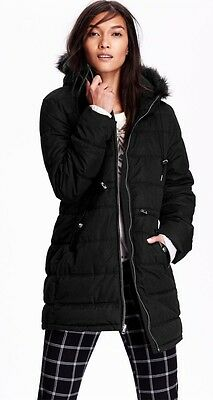 Old Navy Black Frost Free Long Hooded Down Winter Coat ~ NWT XXL