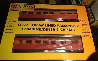 MTH Rail King 30-6063 Southern Pacific Streamlined Combine/Diner Set O-27