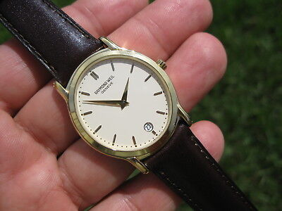 Raymond Weil Tradition Ivory Dial Men's 18K Gold Plated Dress Date Watch! 5571 ✅
