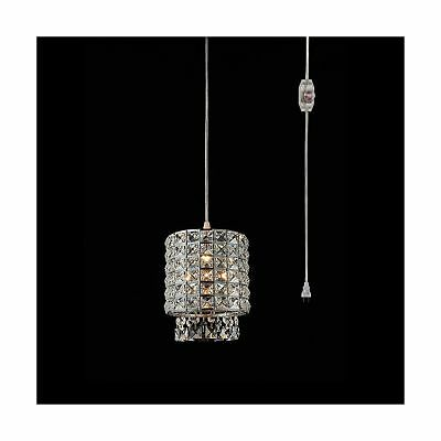Plug in Modern Crystal Chandelier Swag Pendant Light with Clear 15' Cord and ...