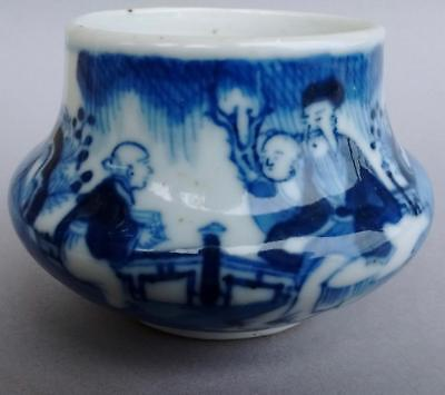 Antique Chinese Export Blue & White Porcelain Miniature Brush Washer Jar