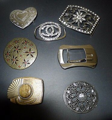 LOT OF  7  LOVELY  VINTAGE BELT BUCKLES , with rhinestones