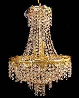 Svarovski Crystal Prism Tiered Swag Basket Chandelier Light Fixture Ceiling Lamp