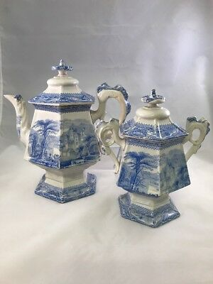 Antique 19th Century Blue White TransferWare Teapot Lidded Loose Tea Jar Storage