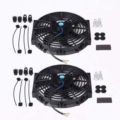 """Dual 12/"""" Inch Universal Electric Radiator Cooling Fan/&Thermostat Mount Kit Black"""