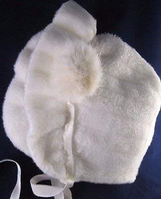 vintage toddler/baby furry hat white winter (Pom Pom - rabbit?)