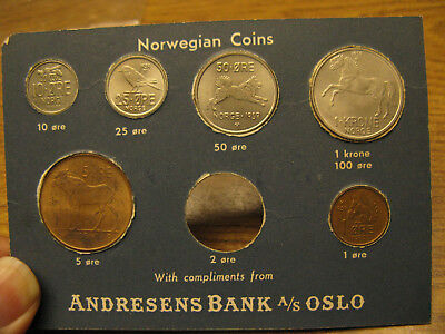 Norway uncirculated coin set 1959 in Andresens Bank Oslo package - missing 2 ore