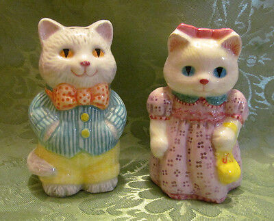 Vintage Salt and Pepper shakers Cats Dressed Avon 1992