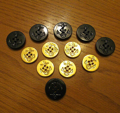 Vintage Mixed Lot NAVY Buttons Rope Anchor Military Naval 12 pcs