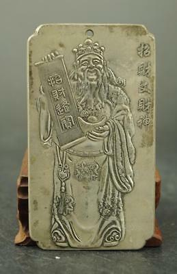Chinese  Old Tibet silver carving lucky Cai Shen  statue Amulet periapt Pendant