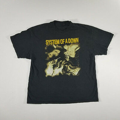 System of a Down Graphic Band T Shirt LARGE Black Spell Out VTG 90s Metal Rock