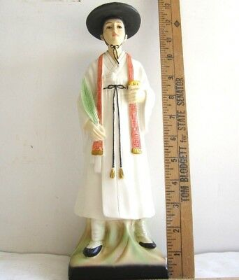 """Vintage Korean Doll 13""""H x 4""""W Hand Painted Colorfl  &  Tradition Man Figurines"""