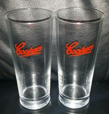 Pair Of Rare Collectable Coopers Red Label 425Ml Beer Glasses Brand New Never Us