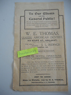 1912 orig paper advert Ballarat dentist 20-30 teeth can be extracted in 10 mins!
