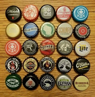 Lot Of 25 Different Beer Bottle Caps, No Dents
