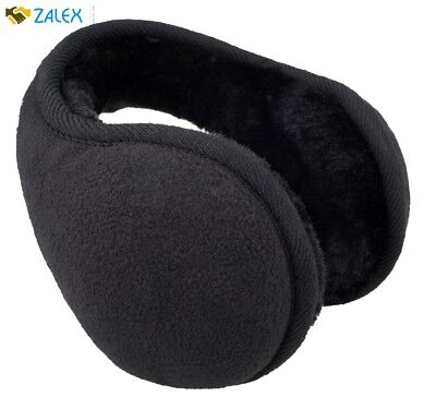 Unisex Classic Fleece Earmuffs Foldable Ear Muffs For Winter Black One Size New