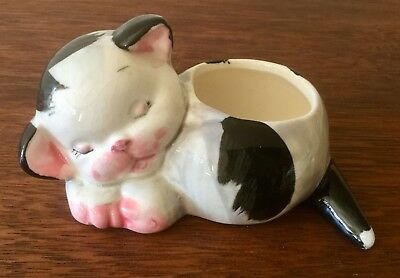 Vintage Retro Kitsch Ceramic Resting Cat Planter Unmarked