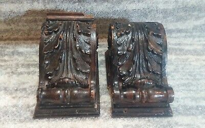 Antique Vintage Carved Wood Shelf Mantle Bracket Brackets