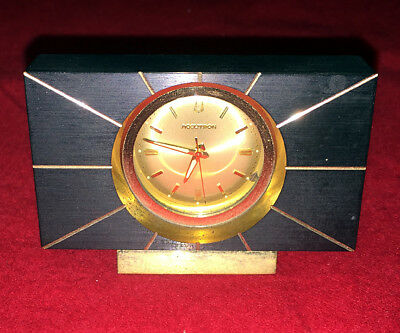 Vintage Bulova Accutron Brass Miniature Art Deco Desk Clock