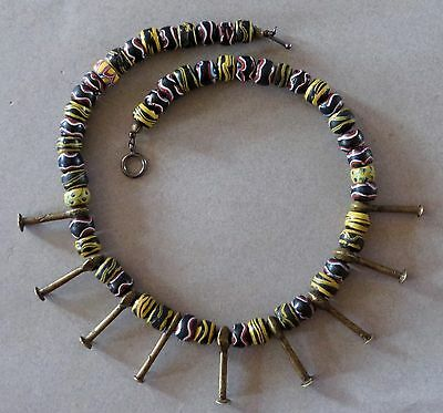 "Ethnic Design Necklace/Rare Glass African Trade Beads, Bronze ""Nails"""