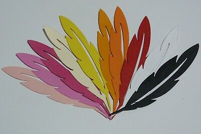 Feathers Set Of 10 Die Cuts In Warm Tones, Black And White