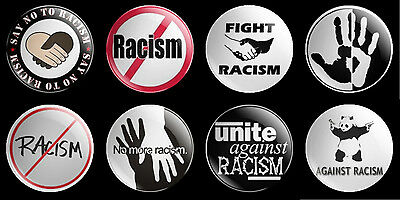 No Racism set of 8 x 30mm button badges