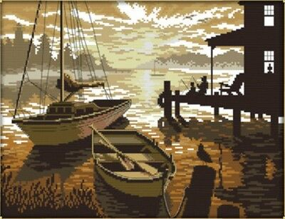 The Sunset Scenery. Boats Fishing. 14CT Counted Cross Stitch. Craft Brand New
